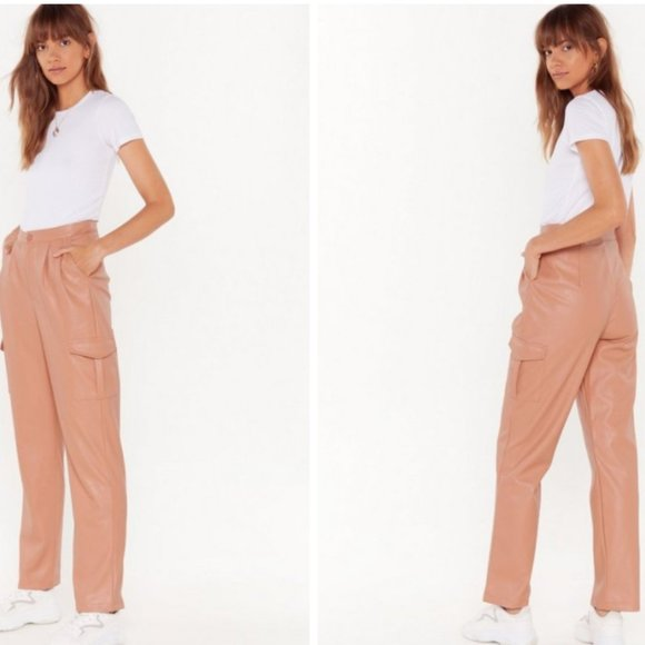 Nasty Gal Pants - NWT Nasty Gal Pink Faux Leather Cropped Cargo Pant